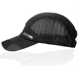 Wholesale Mens Mesh Hats - Fashion Mens Summer Outdoor Sport Baseball Hat Running Visor Cap Hot Popular 2017 New Cool Quick Dry Mesh Cap 6 Colors Gorras