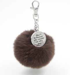 Wholesale Skeleton Handbags - EOSMER 100PCS lot 20mix color DHL free shipping genuine rabbit fur plush ball handbag keychain car pendant with cyrstal stamped plate