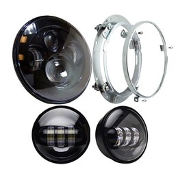 Wholesale led rings for headlights - Harley Daymaker 7'' High Low Beam LED Headlight with 4.5'' LED Passing Lamps for Harley Davidson Motorcycles with Adapter Ring