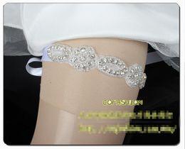 Wholesale Rhinestone Garter Belt - Satin Rhinestones Crystal Sexy Bridal Garter Lace-ups Wedding Garter Belts Leg Garter Panty Medias Muslos 2015 Handmade 36 Styles Available