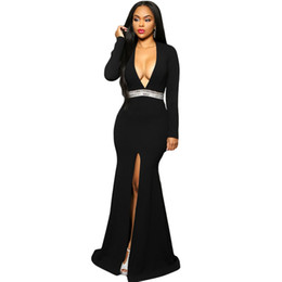 Wholesale Sexy Hollywood Woman - Summer Spring brand new designer sexy 2016 Long Sleeve Hollywood Royal Blue Black Pink Jeweled Waist Front Slit Gown