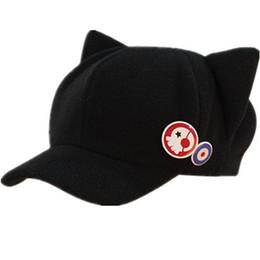 Venta caliente Neon Genesis Evangelion EVA capsula sombrero asuka versión Q de sombreros de invierno gato de la historieta nuevo sombrero de la moda del teatro con 2 insignias desde fabricantes