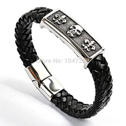 Wholesale Rhodium Plated Magnetic Clasps - Popular Fashion Men's Jewelry Vintage Weave Skull Gothic Stainless Steel Leather Bracelet Magnetic Clasp Punk Bracelets