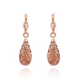 Wholesale Flower Shaped Hoop Earrings - Wholesale 18K Rose Gold Plated Dangle Earrings Hoop Huggie Hollow Design Water Drop Shape For Woman Jewelry Drop Pendant Earrings E016