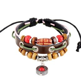 Wholesale china handmade leather charm bracelets - Hot Sale Leather Wrap Bracelet Fashion Handmade Alloy Charms Bracelets Wristbands Bangles Jewerly Wholesale Free Shipping 0386WH