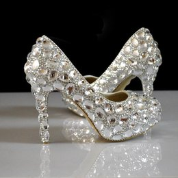 Wholesale Low Heeled Silver Shoes Wedding - Silver Rhinestones Wedding Shoes For Bride Bridal Pumps 14cm 11cm 8cm 6cm 2cm Low Heel Platform Pumps Bridal Shoes Beaded Shoe Wedding