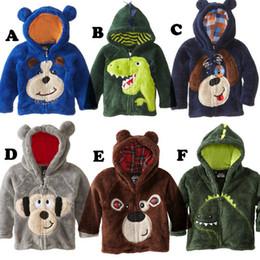 Wholesale Dog Clothes Bear - Boys Winter Jacket 2016 New Style children's clothing boys girls bear Hoodie Fleece cartoon dog kids sweaters jackets baby coats