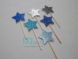 Wholesale Custom Cupcake Decorations - Wholesale- Custom Gold Glitter blue star cupcake Toppers Party Picks.star Cupcake Toppers birthday party decorations kids,baby shower cake
