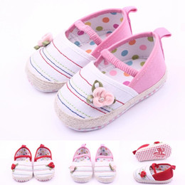 Wholesale Toddler Flower Canvas Shoe - Hot Wholesale Canvas 3D Flower Elastic Strap Rope Welt Baby Shoes First walker Toddler Baby Girl Shoes Two Colors