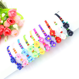 Wholesale Wooden Beads Flowers - 10 Colors Acylic Beads Flower Charm Bracelets & Bangles for Women Wooden Diy Beads Bracelets for Best Friend