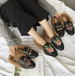Wholesale Head Snow Boots - New Fashion Women's Casual Shoes Fur Flats Boots Embroidered rose tiger head Slippers Woman loafer shoes