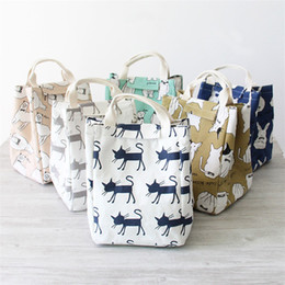 Wholesale Portable Kitchen Storage - Cartoon style cotton and linen square Lunch bag kitchen supplies Storage bag Portable travel Finishing bag IA839