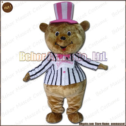 Wholesale Cheap Plus Size Teddies - Gentleman Bear mascot costume EMS free shipping, cheap high quality carnival party Fancy plush walking Teddy bear mascot cartoon adult size.