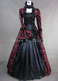 Wholesale Costume Made Wedding Dresses - Wine Red Print Brocade Victorian Gothic Wedding Georgian Period Marie Antoinette Dress Ball Gown Vintage Victorian Period Costumes Women