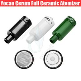 Batería de repuesto online-Auténtico Yocan Cerum Atomizador Vaporizador de cera de cerámica completo con cuarzo de repuesto QDC Dual Coil Fit 1100mAh Yocan Evolve Plus Battery 510 Box Mod
