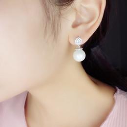 Wholesale E Packet - Ladies Ear Studs Zircon 925 Sterling Silver Mother-of-Pearl Ear studs Grace Fashion Women Earrings Free Shipping by E-packet