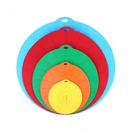 Wholesale Cover Pots - 5pcs set Silicone Preservation Lid Bowl Pan Cooking Pot Lid Reusable Suction Seal Covers Spill-proof Food Grade Silicone Pot Cover