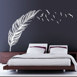Wholesale Decal Feather Design - Brown White Black Flying Feather Birds Wall Sticker Decals for Bedroom Living Room Decoration Wallpaper Art