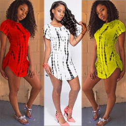 Wholesale Xxl Fur Women Dress - Plus size XXL 4 colors Sexy Club Dress 2016 Women print t-shirt Dress summer style bandage Bodycon Beach dress