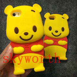 Wholesale S4 Case 3d Cute - 3D Cute Cartoon Winnie the Pooh Soft Silicon Case For iphone 4S 5 5S 6 6S plus Samsung galaxy S4 S5 Note 3