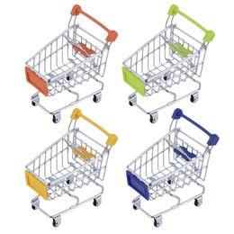 Wholesale Mini Shopping Carts Wholesale - Fashion Mini Supermarket Hand Trolleys Mini Shopping Cart Desktop Decoration Storage Phone Holder Baby Toy