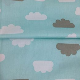 Wholesale Doll Tent - 1 meter fashion blue clouds 100% cotton twill fabric DIY home decor kids doll textile quilting tent pet chic cloth for sewing