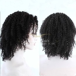 Wholesale Natural Brazilian Curl Lace Wig - Brazilian Kinky Curl Full Lace Wigs Deyable Natural Color Human Hair Wig with Natural Hairline Free shipping Bella Hair