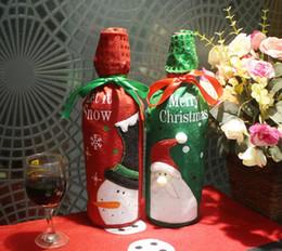 Decorazioni di arco dell'albero di natale online-Sacchetto di bottiglia di vino di Natale Dinner Party Decoration Bow-Knot Pupazzo di neve Albero di Natale Babbo Natale Bottle Cover Bag Christmas