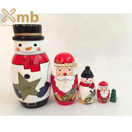 Wholesale Statue Home Decor - Hot Design Matryoshka Russian Nesting Doll Wooden Puppe Christmas Story Santa Claus 5 pcs For Home Decor Christmas Gift