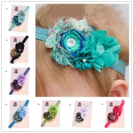 Wholesale Shabby Chic Wholesalers - 10 pcs Shabby Chic Flower hair bows Vingate Hair Accessories Newborn Baby Hairbow Baptism Gift Photo Props Flower hairband