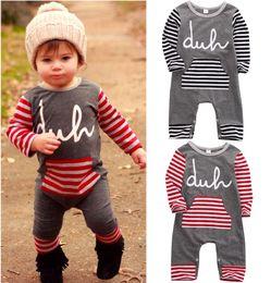 Wholesale Playsuit Black - hot sale casual baby suit Kids children Boy Girl Striped Cotton long sleeve Romper spring autumn fashion Jumspuit Playsuit Outfit Clothes