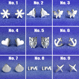 Wholesale Mix Silver Jewerly - Hot Selling 2016 925 Silver Stud Earrings For Women Animal Mixed Shapes Fashion Jewerly Factory Wholesale Price