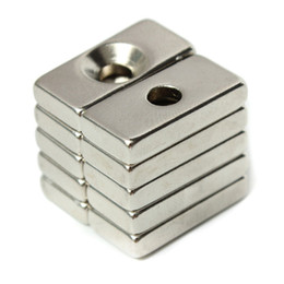 Wholesale Neodymium Magnets Holes - 20pcs N52 20x10x4mm Strong Magnets 4mm Hole Rare Earth Neodymium Magnets
