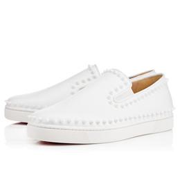 Wholesale Roller Fabric - [Original Box]France Prefer Top Luxury Brand Men's Designer Sneakers Red Bottom Sneaker White Spikes Leather Pik Roller-Boat High Low