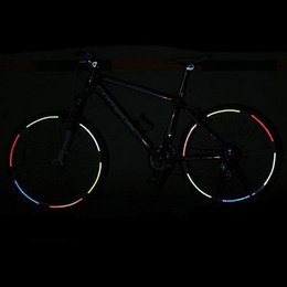 Wholesale Wheel Reflective Tape Bike - Cycling Fashion Fluorescent MTB Bike Bicycle Cycling Motorcycle Wheel Tire Tyre Reflective Stickers Decal Tape Safety Red Free shipping