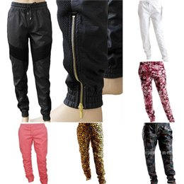 Wholesale Women Faux Leather Joggers - Wholesale-Smoke Rise Clothing Men Women Leather Sweatpants Faux PU Camo Leopard Red Leather Joggers Sweat Pants Plus Size AY654