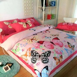 Wholesale 3d butterfly comforter set - Hot sale 2017 Home textile bedding-set 3D bed products cotton blue ink three-dimensional oil painting bed four sets butterflies flying