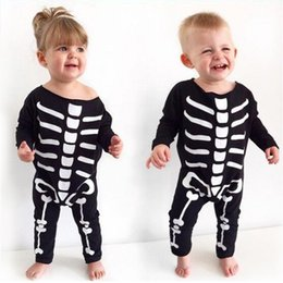 Wholesale Baby Rompers Skulls - Baby Halloween Romper Infant Toddler Skull Rompers Unisex Cotton Long Sleeve Jumpsuit Halloween Outfit Gift 0-24M