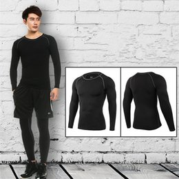 Wholesale tight long sleeves sweater - PRO Adult Clothes Jersey Men's Sweater Jerseys Long Sleeve Athletic Running Trainning Tights Clothing Fast Shipping