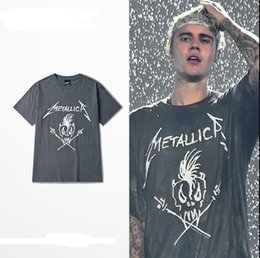 Wholesale Skull Print Shirts Women - Buy Justin Bieber Grey Tee Metallica Concert Shirts Skull Printed Short Sleeve For Women Men Online Sale