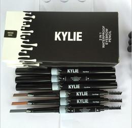 Wholesale Eyeliner Brown - Kylie Jenner Eye Brow Pencil 2 in 1 Waterproof Eyebrow Pencil with Brush Eyeliner SOFT BROWN GRAY DARK BROWN