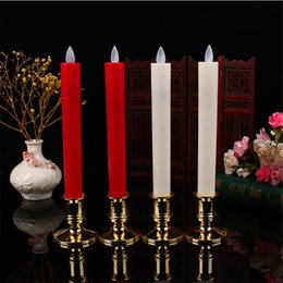 Wholesale Taper Led Candle - 2pcs lot Moving Wick Flameless LED Candlestick Long Taper Candle Dancing Flame with Remote Control for Christmas Wedding Decor Lights