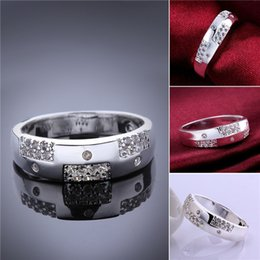 Wholesale Long Sterling Rings - Mix size 10 pieces 925 silver Long box inlaid stone ring GSSR617 Factory direct sale brand new fashion sterling silver finger ring