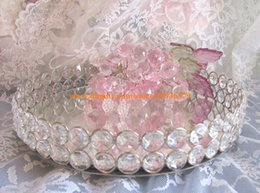 Wholesale Tray Crystal - NEW Round Glass Crystal Vanity Jewelry Tray Sliver Mirror Dresser Perfume chic Gift