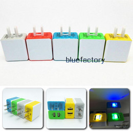 Wholesale Colorful Lighting Direct - Dual USB Wall Charger LED Light AC Home Power Adapter 2 Ports Colorful for iphone 6 plus For Sansung S6 S7 Edge