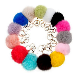 Wholesale Lovely Lovers Photos - 500pcs 14 colors lovely 8CM Genuine Leather Rabbit fur ball plush key chain for car key ring Bag Pendant car keychains DHL free