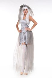 Wholesale Ghost Suit - Halloween new mummy The zombie ghost bride goddess of hell Skull witch suit masquerade costumes
