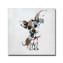 Wholesale abstract canvas art for sale - Hand painted dropshipping art oil painting cartoon dog pop art images in high quality original art for sale