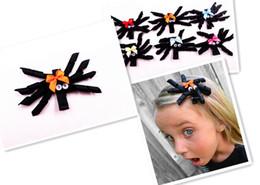 Wholesale Sculpture Clips - 50pcs Halloween Spider Ribbon Sculpture Bow - Black Hair Clip