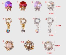 Wholesale Diamond Pearl Nail Art - F441 Nail Art Decorations Nail Stick Diamond 11PC Bag AB Colorful Crystal Rhinestone Pendant Sunflower Pearl Alloy Accessories